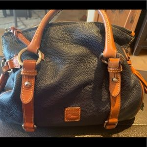 D&B leather satchel blue with brown accents